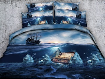 3D Corsair and Treasure Box Printed 4-Piece Bedding Sets/Duvet Covers