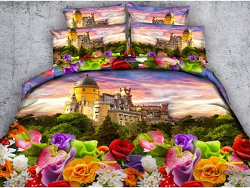 3D Castle and Colorful Flowers Printed 4-Piece Bedding Sets/Duvet Covers