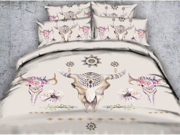3D Cow Skulls Printed Exotic Style Printed 4-Piece Bedding Sets/Duvet Covers