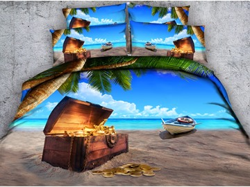 3D Treasure Box on the Beach Printed 4-Piece Bedding Sets/Duvet Covers