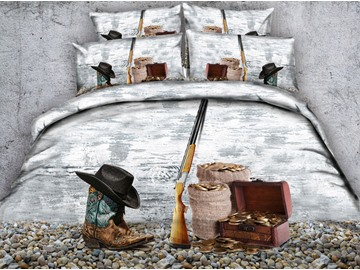 3D Cowboy Hat and Gun Printed 4-Piece Bedding Sets/Duvet Covers