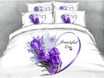 3D Heart-shaped Purple Crocus Printed 4-Piece White Bedding Sets/Duvet Covers
