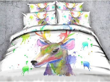 Watercolor Deer Printed 4-Piece White 3D Bedding Sets/Duvet Covers