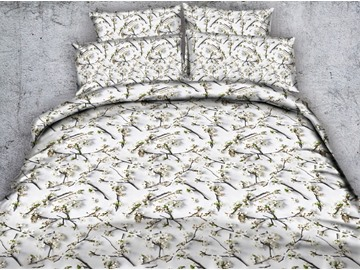 3D White Plum Blossoms Printed 4-Piece Bedding Sets/Duvet Covers