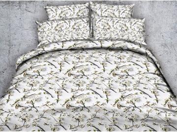 3D White Plum Blossoms Printed 4-Piece Bedding Sets/Duvet Covers
