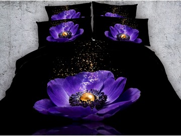 3D Purple Poppy and Pearl Printed 4-Piece Black Bedding Sets/Duvet Covers