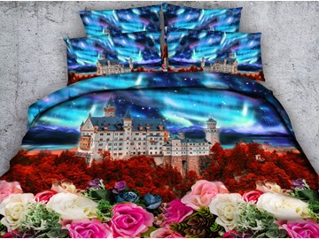 3D Colorful Floral and Castle Printed 4-Piece Bedding Sets/Duvet Covers