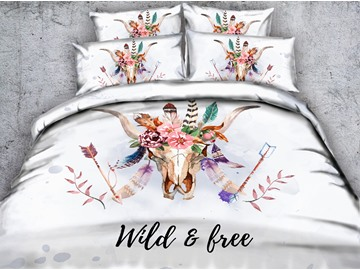 3D Cow Skull with Feathers Printed 4-Piece White Bedding Sets/Duvet Covers