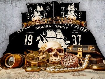 Skull and Jewelry Retro Style Printed 4-Piece 3D Bedding Sets/Duvet Covers