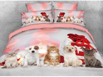 Onlwe 3D Kittens and Puppies Printed 4-Piece Bedding Sets/Duvet Covers