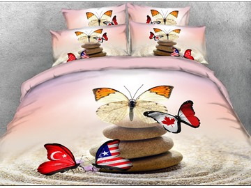 Onlwe 3D Flag Butterflies and Cobblestone Printed 4-Piece Bedding Sets/Duvet Covers