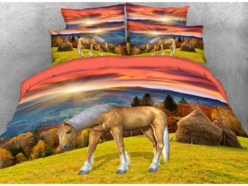 Onlwe 3D Horse in Autumn Grassland Printed 4-Piece Bedding Sets/Duvet Covers