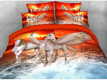 White Horse Crossing the River Printed 3D 4-Piece Bedding Sets/Duvet Covers
