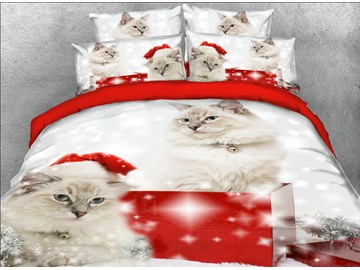 Onlwe 3D Persian Cat with Christmas Hat Printed 4-Piece Bedding Sets/Duvet Covers