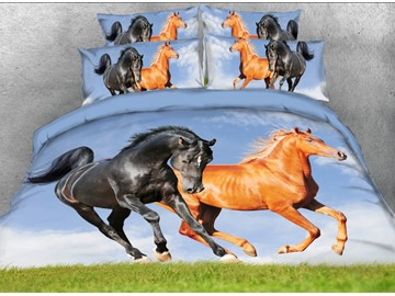 Onlwe 3D Running Horses Printed 4-Piece Bedding Sets/Duvet Covers