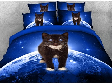 Black Kitten on Planet Printed 4-Piece 3D Bedding Sets/Duvet Covers