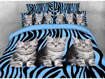 Onlwe 3D Kittens and Zebra Pattern Printed 4-Piece Bedding Sets/Duvet Covers