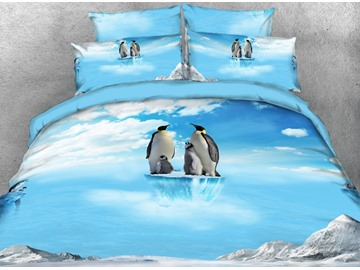 Onlwe 3D Penguin Family on Ice Printed 4-Piece Bedding Sets/Duvet Covers