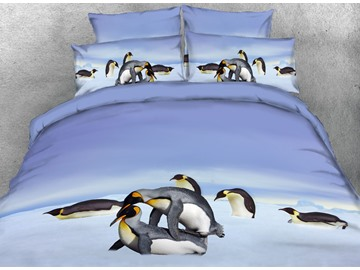Onlwe 3D Penguins Playing in Snow Printed 4-Piece Bedding Sets/Duvet Covers