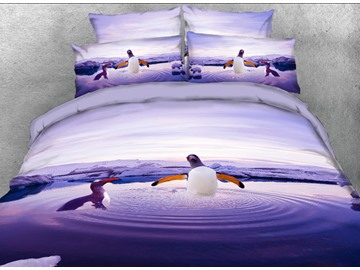 Onlwe 3D Penguins Playing in Water Printed 4-Piece Bedding Sets/Duvet Covers