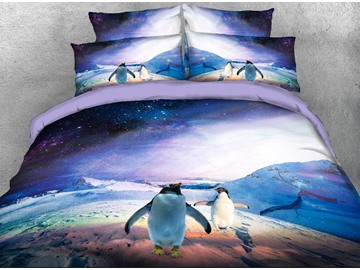 Onlwe 3D Penguins and Galaxy Printed 4-Piece Bedding Sets/Duvet Covers