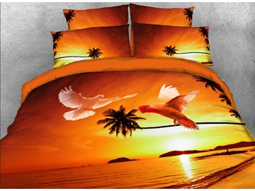 3D Flying Doves and Tropical Beach Printed 4-Piece Bedding Sets/Duvet Covers