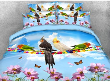 Onlwe 3D Parrots and Butterflies Printed 4-Piece Bedding Sets/Duvet Covers