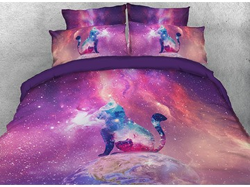 Onlwe 3D Colorful Galaxy Cat Printed Cotton 4-Piece Bedding Sets/Duvet Covers