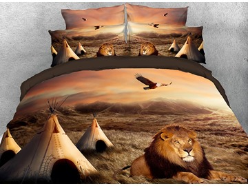 Onlwe 3D Lion Crouching Down on the Grass African Style 4-Piece Bedding Sets/Duvet Covers