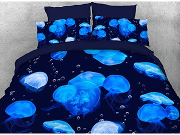 Floating Blue Jellyfish Printed Polyester 3D 4-Piece Bedding Sets/Duvet Covers