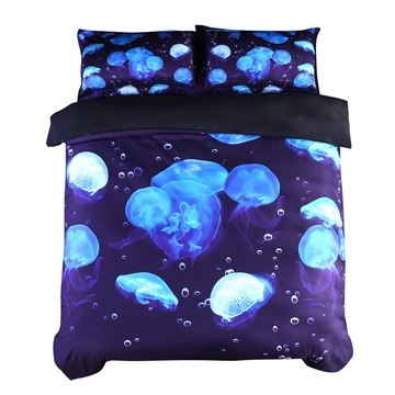 Onlwe 3D Floating Blue Jellyfish Printed Cotton 4-Piece Bedding Sets/Duvet Covers