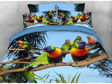 Rainbow Parrots on Branch Natural Scenery 4-Piece 3D Bedding Sets/Duvet Covers