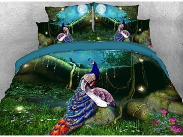 Vivilinen Splendid Peacocks in the Forest Cotton 3D 4-Piece Bedding Sets/Duvet Covers
