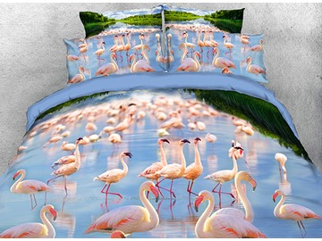 Onlwe 3D Flamboyance in Water Natural Scenery 4-Piece Bedding Sets/Duvet Covers