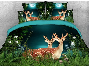 Onlwe 3D Deer in the Forest Printed 4-Piece Bedding Sets/Duvet Covers