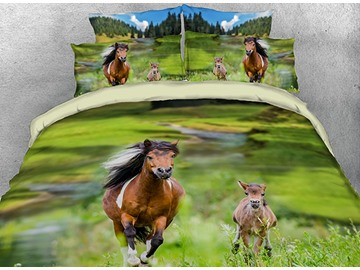 Onlwe 3D Running Horse and Foal Printed 4-Piece Bedding Sets/Duvet Covers