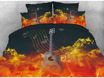 Onlwe 3D Guitar Musical Stave Note in Flaming Cloud 4-Piece Bedding Sets/Duvet Covers