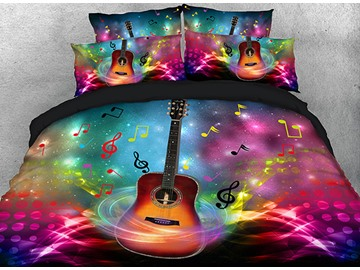 Onlwe 3D Guitar in Splendid Spiral with Dancing Note Cotton 4-Piece Bedding Sets/Duvet Covers