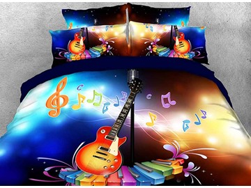 Onlwe 3D Dreamy Guitar with Colorful Piano Keys and Note Cotton 4-Piece Bedding Sets/Duvet Covers