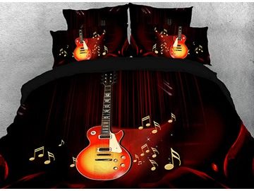 Vivilinen Guitar with Beating Note Printed Cotton 4-Piece 3D Bedding Sets/Duvet Covers