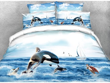 Onlwe 3D Orcinus Orca Printed 4-Piece Bedding Sets/Duvet Covers