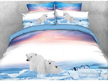 Onlwe 3D Polar Bear Family and Penguins Printed 4-Piece Bedding Sets/Duvet Covers