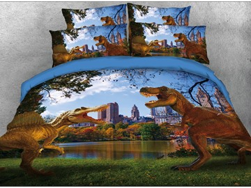 Vivilinen 3D Spinosaurus Tyrannosaurus in Modern City 4-Piece Bedding Sets/Duvet Covers