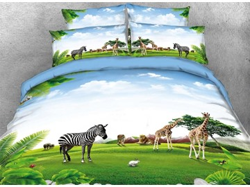 Vivilinen 3D Zebra Giraffe Animals Natural Scenery-Piece Bedding Sets/Duvet Covers