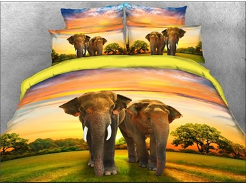 Onlwe 3D Couple Elephants Walking on Grassland Natural 4-Piece Bedding Sets/Duvet Covers