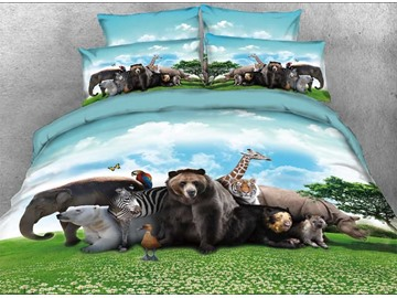 Onlwe 3D Safari Animals under Blue Sky Natural 4-Piece Bedding Sets/Duvet Covers