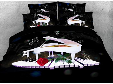 Vivilinen White Piano Dancing on Keyboard with Red Rose 3D 4-Piece Bedding Sets/Duvet Covers