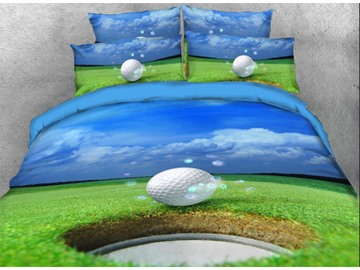 Onlwe 3D Golf Ball on Edge of Cup 4-Piece Bedding Sets/Duvet Covers