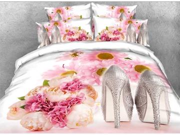 Vivilinen Rhinestone High Heels Pink Rose Romantic 3D 4-Piece Bedding Sets/Duvet Covers