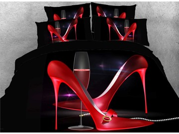 Sexy Red Pointy High Heels And Wine Glass Goblet 3D Printed 4-Piece Soft Polyester Bedding Sets Zipper Duvet Covers